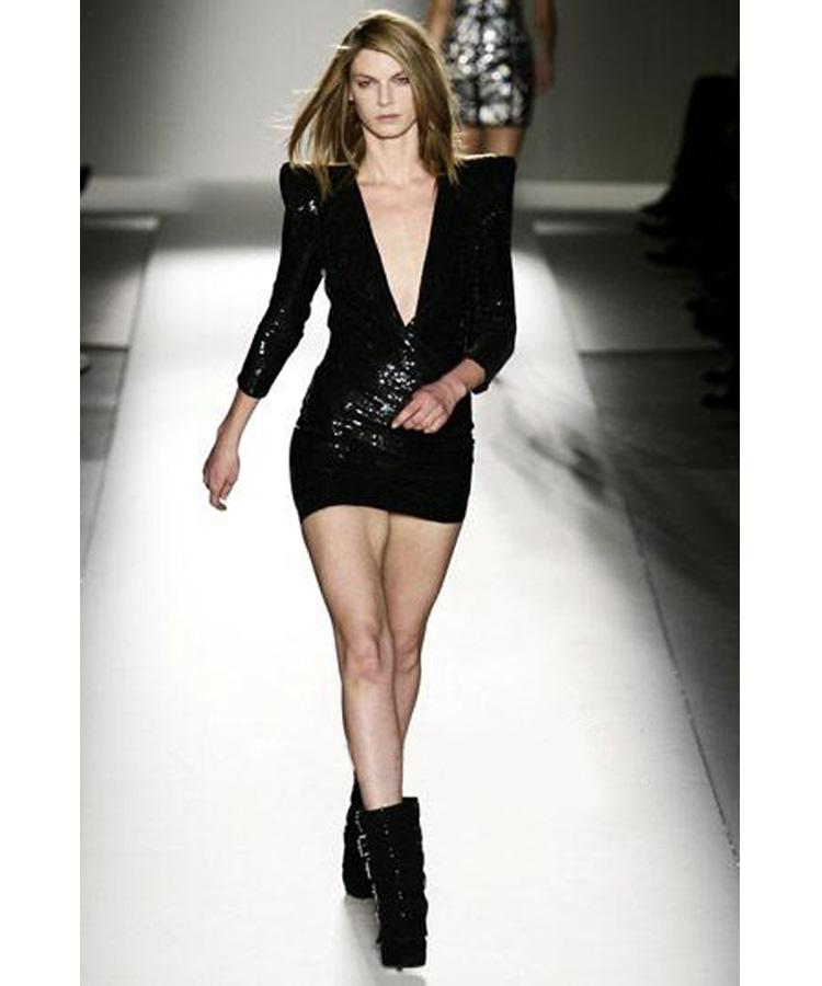 Balmain Padded Shoulder Sequin Dress Black Fter5 Fashion Buzz